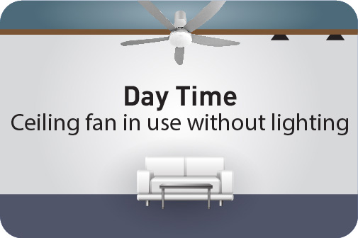 Day Time Ceiling fan in use without lighting