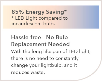 85% Energy Saving* *LED Light compared to incandescent bulb. Hassle-free – No Bulb Replacement Needed With the long lifespan of LED light, here is no need to constantly change your light bulb, and it reduces waste.