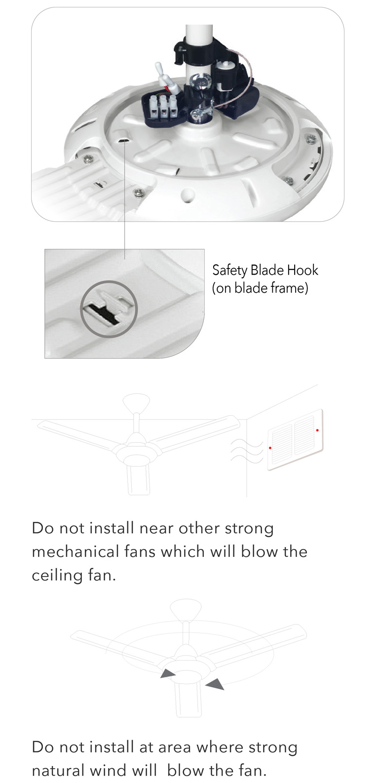 Do not install near other strong mechanical fans which will blow the ceiling fan.
